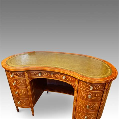 kidney shape edwardian inlaid mahogany kidney shaped desk hingstons