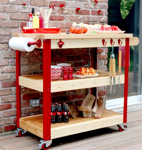 Butcher Block Portable Kitchen Island How To Build A Rolling Grill Cart