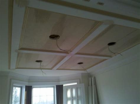 Flat Coffered Ceiling by Panel Ceiling Custom Home Finish