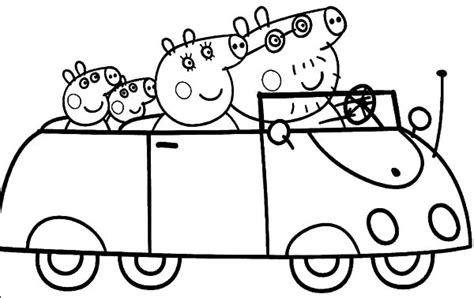peppa pig car coloring pages peppa pig and family driving car coloring pages best