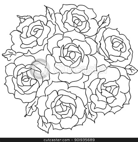 10 Images Of Rose Bouquet Coloring Page Rose Flower Bouquet Roses Coloring Pages