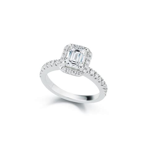 1 31 carat emerald cut halo engagement ring