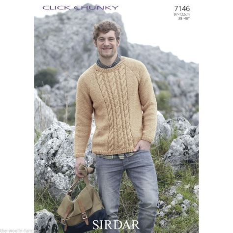 sirdar mens knitting patterns 7146 sirdar click chunky mens sweater knitting pattern