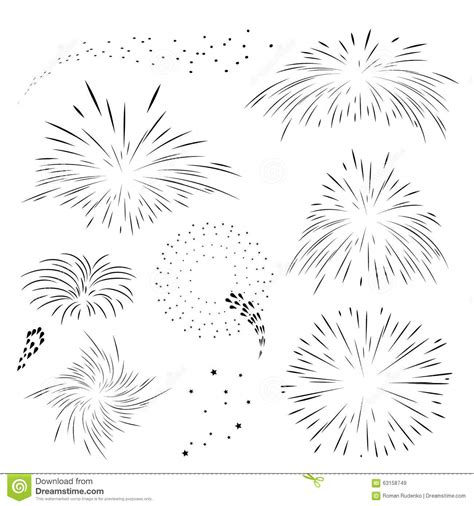 set fireworks in black outline stock vector image 63158749