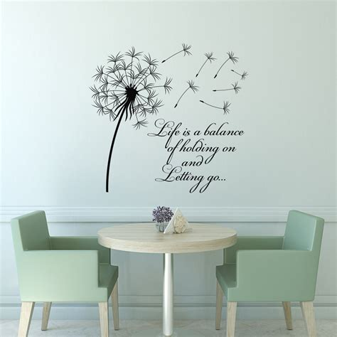 wall quotes wall decals comfort dandelion wall decal quote life is a balance holding on