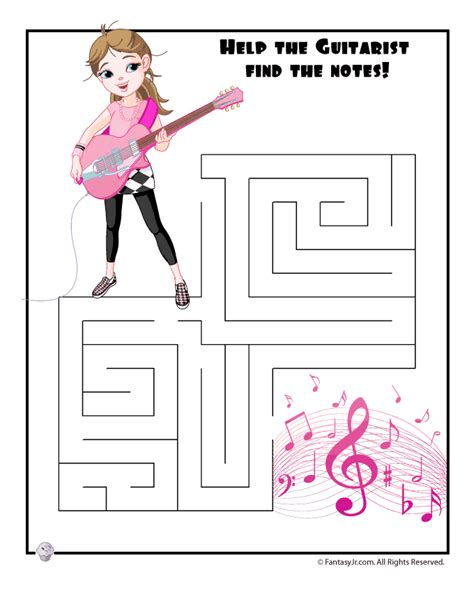 printable music maze easy kids mazes easy guitar girl maze fantasy jr