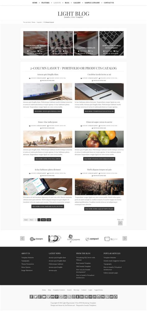 light blog free joomla 3 responsive bootstrap template