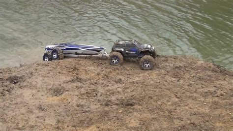 traxxas blast boat trailer traxxas summit spartan load in the mud chasing dog