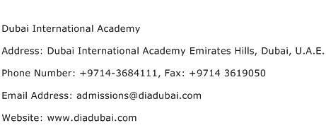 International Address Search Dubai International Academy Address Contact Number Of Dubai International Academy