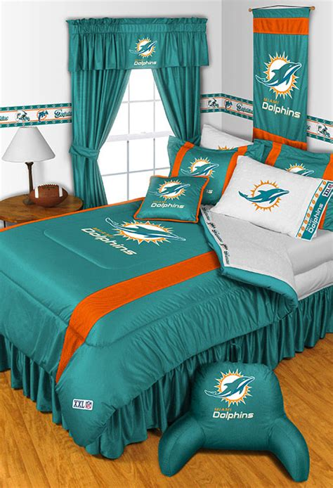 new nfl miami dolphins full queen bedding comforter set ebay