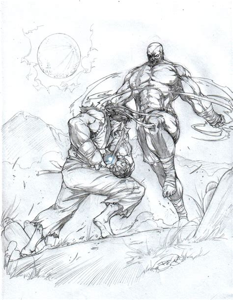Fighter V Sketches by Ryu Vs Sagat Fight By Caananwhite On Deviantart