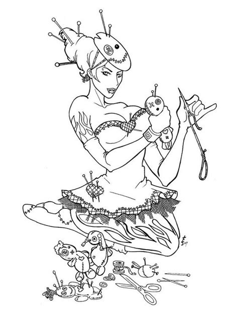 voodoo doll coloring page pinned up voodoo dolly by trissa deviantart com on