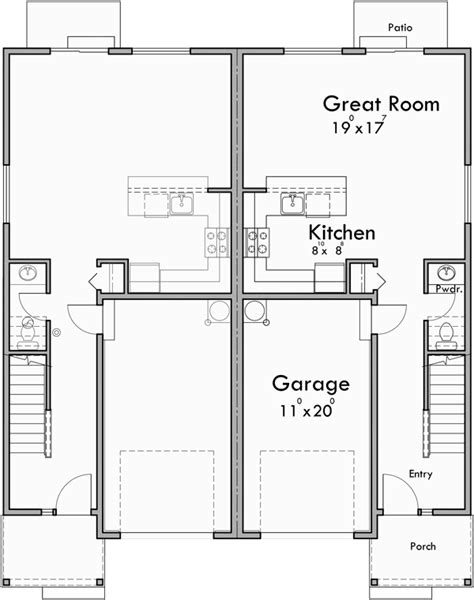 duplex row house floor plans duplex house plan row house plan open floor plan d 605