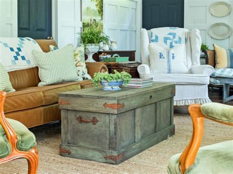 living room trunk table how to construct a rustic trunk style coffee table hgtv