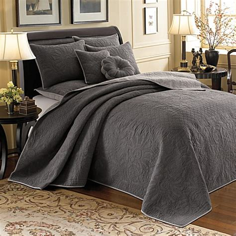 bed bath and beyond vallejo vallejo grey reversible bedspread 100 cotton bed bath