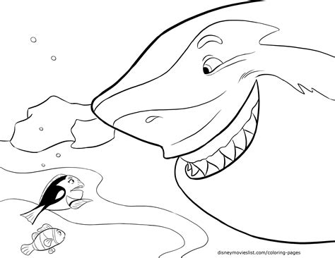 nemo shark coloring pages free coloring pages of finding nemo shark 9384