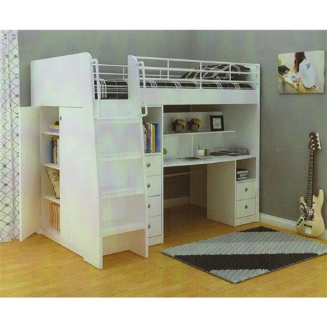 high loft bed with desk king single high loft bed w desk storage in white buy