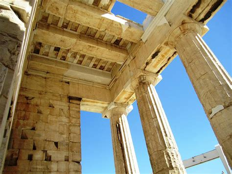 interior architecture of acropolis parthenon columns and high ceiling in athens greece