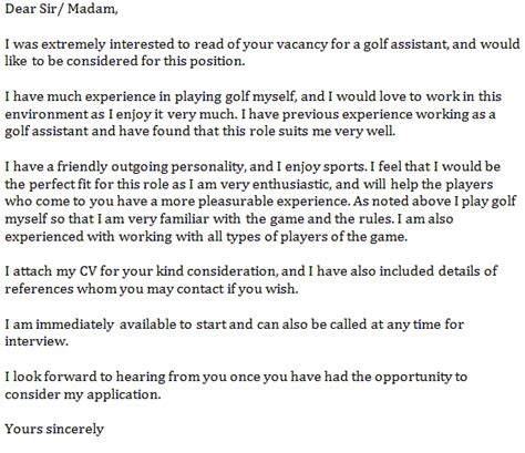 Golf Attendant Cover Letter by Golf Assistant Cover Letter Exles Learnist Org