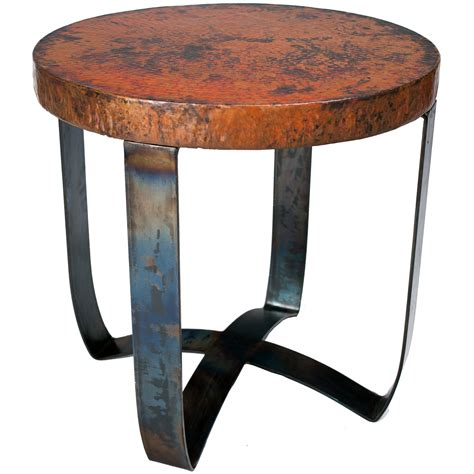pictured here is the round strap end table with wrought