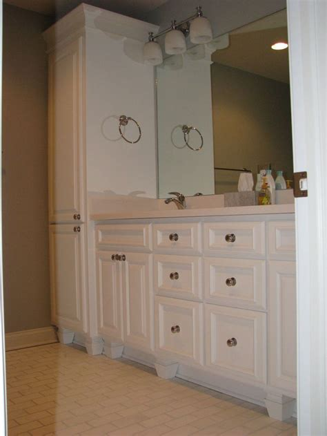 Bathroom Vanity With Linen Cabinet Pin By Jodi Groth On Bathrooms Pinterest
