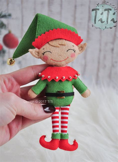 handmade felt christmas elf ornament  ornament