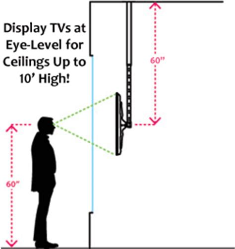height to place tv on wall ceiling flat panel monitor mount with variable depth
