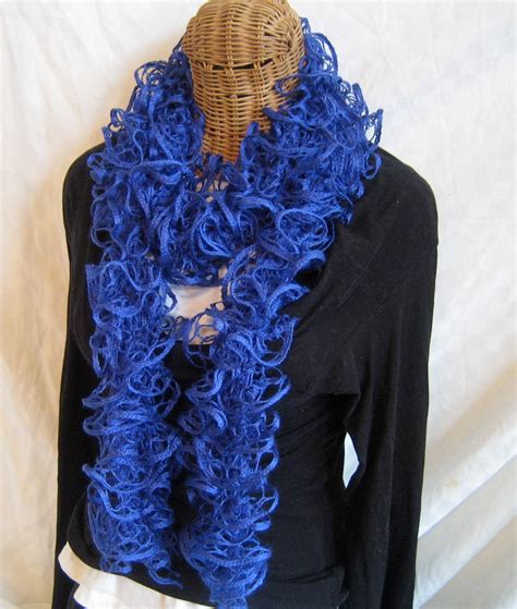 how to knit a frilly scarf knitted ruffle scarf royal blue frilly by frillyscarvesbyliz