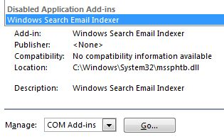 Windows Search Email Indexer Disabled Search Indexer Add In Disabled Mssphtb Dll Msoutlook Info