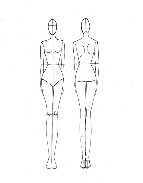 Fashion Template Back fashion croquis on fashion templates