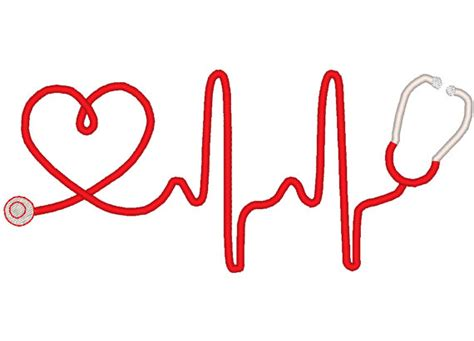 heartbeat stethoscope tattoo heart beat stethoscope machine embroidery design by