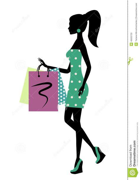 imagenes vectores compras silhueta de uma mulher elegante da compra ilustra 231 227 o do