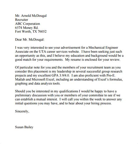 simple cover letter templates 8 sles exles