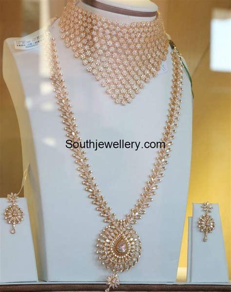 flower design haram cz stones necklace and haram jewellery designs