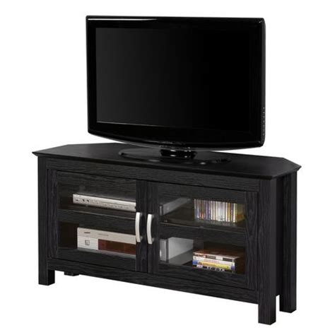 Black Tv Stands With Glass Doors Black Wood Corner Tv Stand With Glass Doors Walmart Canada