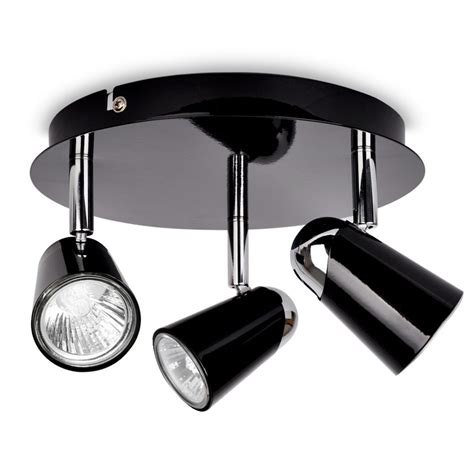 Modern Ceiling Light Fittings Modern Black Chrome 3 Way Ceiling Spot Light Spotlight Fitting Lights Ebay