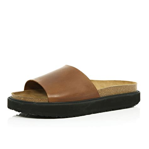 brown slide sandals lyst river island brown leather chunky slide sandals in