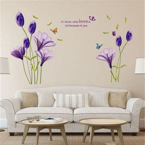 Mickey And Minnie Mouse Bedroom Modern Removable Elegant Purple Lily Flower Vinyl Art