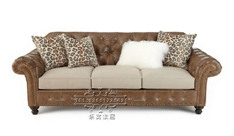 Country Leather Sofa American Country Three Antique Furniture Leather Sofa Custom Sofa Studio Customized