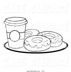 Coloring Page Cup Coffee Plate With Donuts Hit sketch template