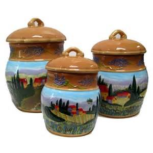 Tuscan Canisters Kitchen Amazon Com Set Of 3 Bella Casa Tuscan Countryside Raised