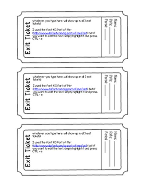 exit ticket template editable pdf form