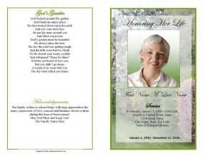 template funeral program funeral program template garden