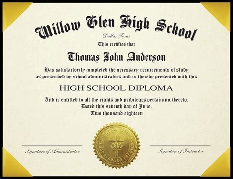 Standard High School Diploma For Homeschool With 6 Quot X 8 Quot Padded Cover And Embossed Seal High School Diploma Template With Seal