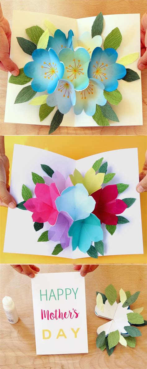 handmade mothers day card templates pop up flowers diy printable s day card a