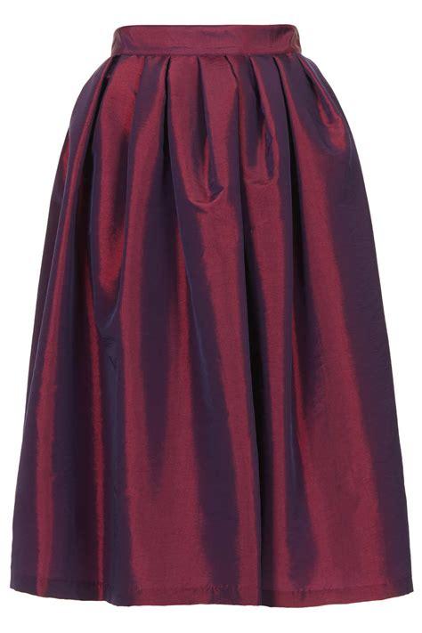 topshop taffeta midi skirt in pink bright pink lyst