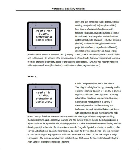 biography templates biography template 20 free word pdf documents