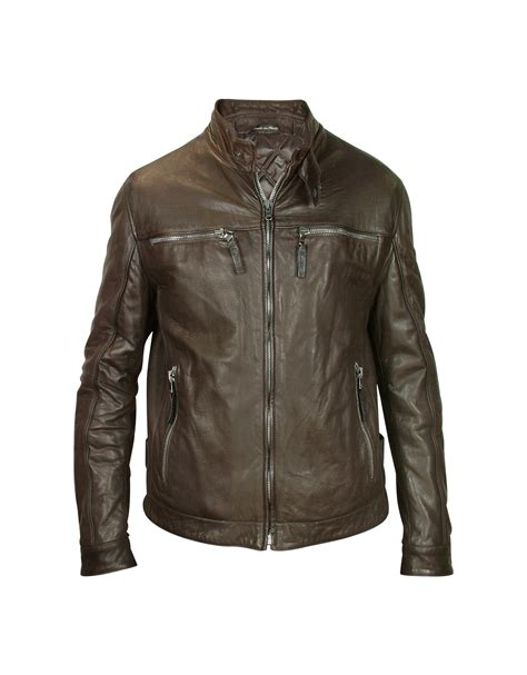 brown motorcycle jacket forzieri s brown leather motorcycle jacket in
