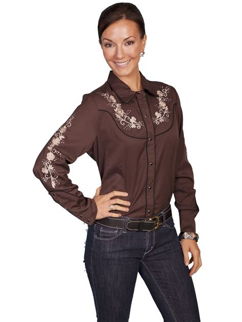 scully and scully ls womens embroidered western shirt canyon flower