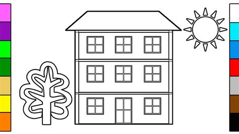 how to color a house how to draw big house learning colors coloring for